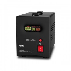 AVR-1500VA WELL ΨΗΦΙΑΚΟ με USB έξοδο GUARD LCD Display Black AVR-REL-GUARD1500-WL